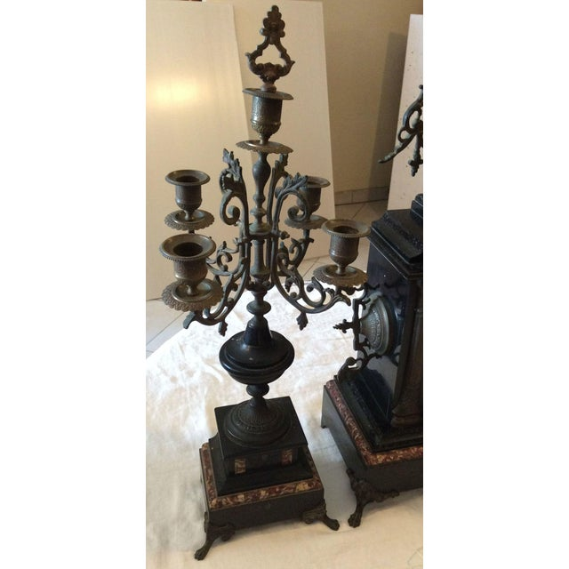 French Black Marble Mantle Clock With Candelabras For Sale In Miami - Image 6 of 11