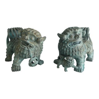 Vintage Chinese Vert De Gris Bronze Foo Dogs- a Pair For Sale