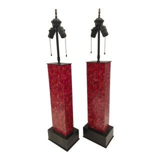 1950's Skyscraper Lamps, Faux Marble Painted Lamps - A Pair For Sale