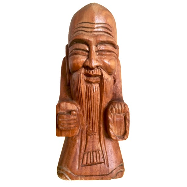 1970s Peaceful Tibetan Monk - Hand Carved Wood - Image 1 of 9