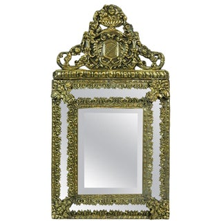 19th Century French Brass Small Pillow Mirror For Sale