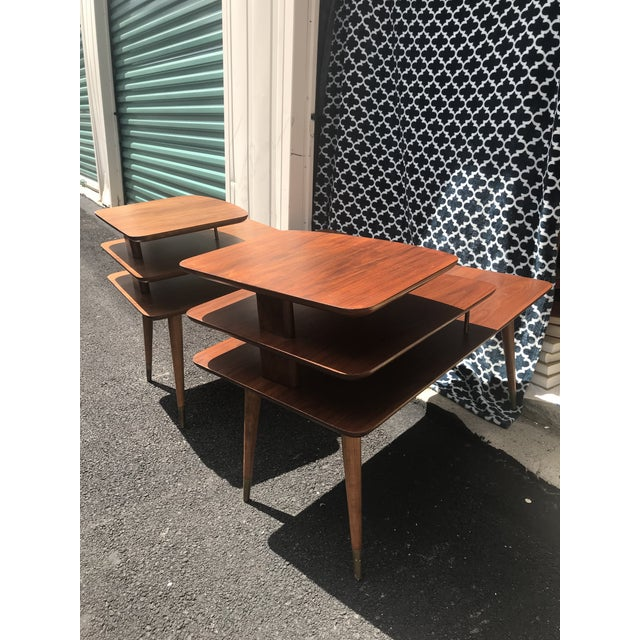 Mid-Century Modern 3 Tier Wood/Brass Side Tables - a Pair For Sale - Image 9 of 10