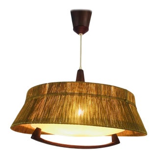 Midcentury Teak and Cord Shade Hanging Lamp, circa 1960 For Sale