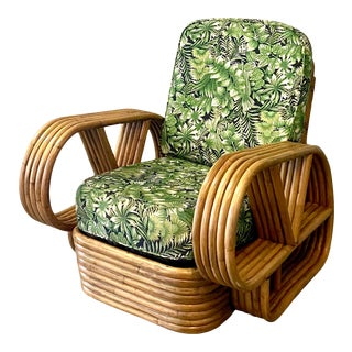 Vintage Midcentury Five Strand Bamboo Lounge Chairs After Paul Frankl For Sale