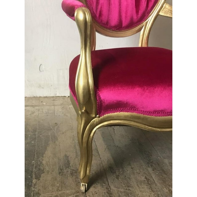 Victorian Antique Pink Velvet and Gold Chair For Sale - Image 4 of 7