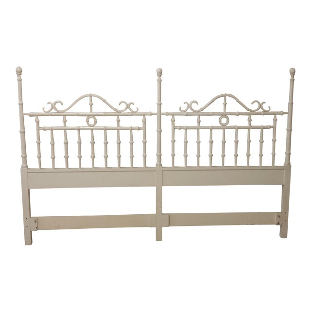 Vintage Chinese Chippendale Faux Bamboo Fretwork King Size Headboard - Image 1 of 8