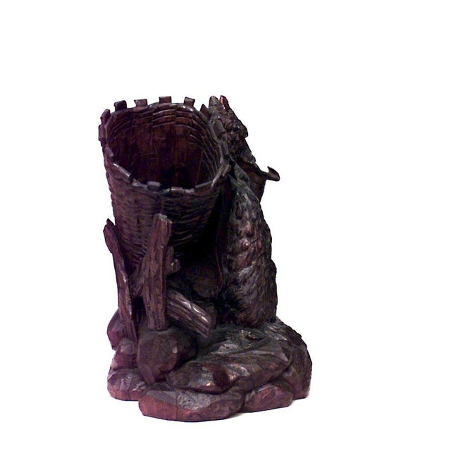 Mid 19th Century 19th Century Rustic Black Forest Carved Walnut Dog Figure For Sale - Image 5 of 8