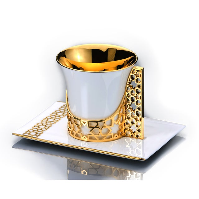 Hollywood Regency Gold Arabesque Coffee and Tea Cup with Saucer For Sale - Image 3 of 3