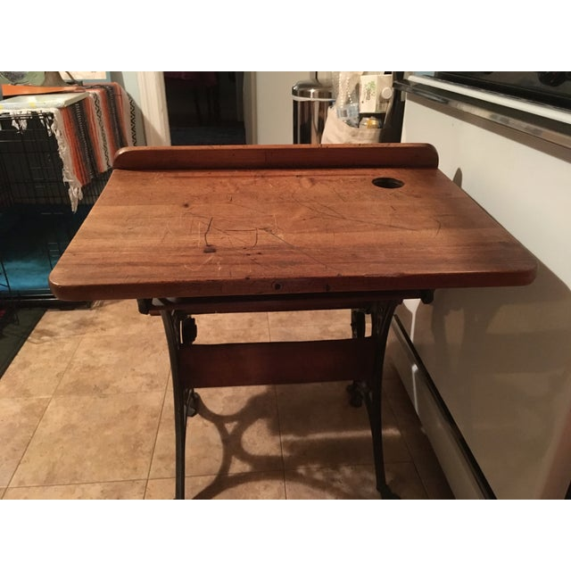 19th Century Americana Wood & Cast Iron Antique School Desk For Sale - Image 9 of 11