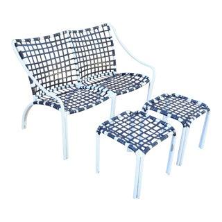 Brown Jordan Tamiami Aluminum Bench & Side Tables - Set of 3