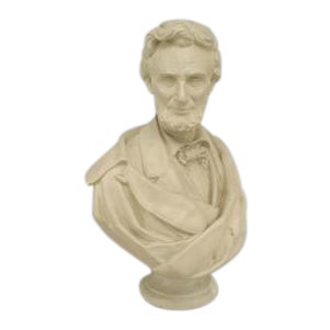 American Victorian style (20th cent) lifesize plaster bust of Abraham Lincoln on a round pedestal base