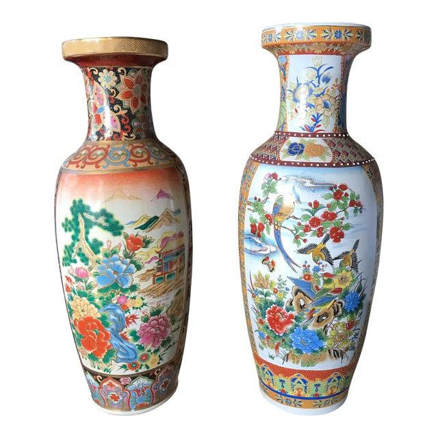 Pair Large 24 H Old Japanese Satsuma Vases Chairish