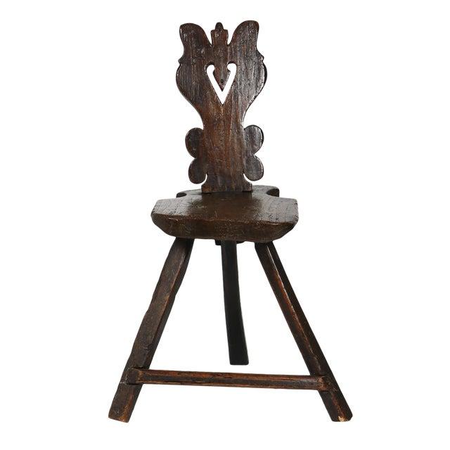 A Rustic Carved Oak Tyrolean Three Legged Chair; Austria Circa 1680 For Sale