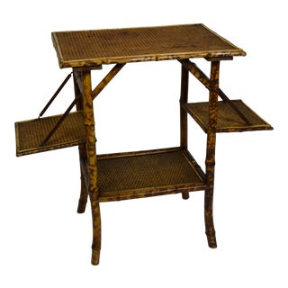 Late 19th-Century Bamboo Table W/Folding Leaves For Sale