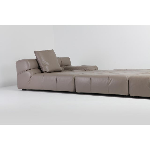 Contemporary Tufty Time B&b Italia Taupe Leather Sectional Sofa by Patricia Urquiola For Sale - Image 3 of 11