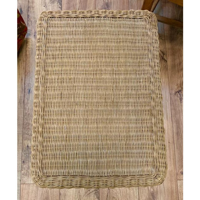 1990s Wicker Side Table For Sale - Image 5 of 6
