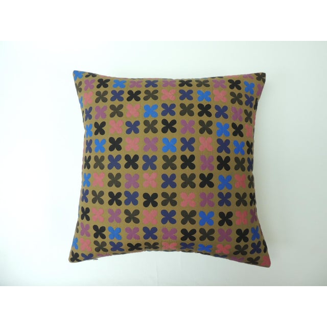 """Quilted Cotton Red and Blue """"Osaka"""" Decorative Pillow For Sale In Miami - Image 6 of 6"""