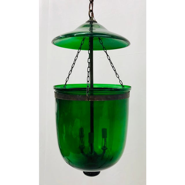 Traditional Green Glass Bell Jar Pendant For Sale - Image 13 of 13