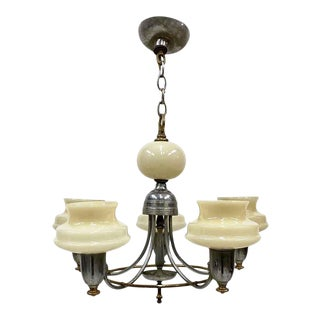 1930s 5 Arm Art Deco Chandelier With Cream Glass Slip Shades For Sale