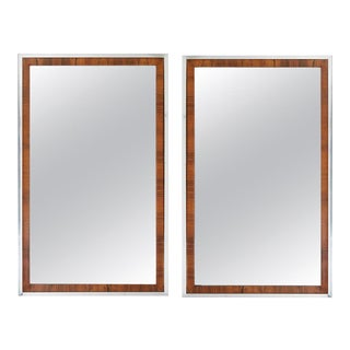 Mid-Century Rosewood and Chrome Mirrors by Widdicomb Co / John Stuart - a Pair For Sale