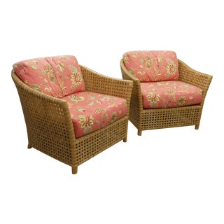 McGuire Rattan and Woven Rawhide Antalya Tub-Style Lounge Chairs- a Pair For Sale