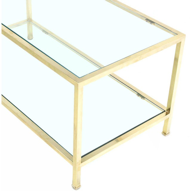 Contemporary Solid Brass Tube Rectanglar Coffee Table For Sale - Image 3 of 7