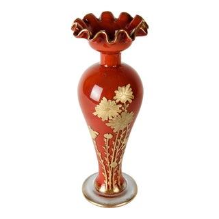 Antique Baccarat Crystal Gold Enameled Vase For Sale