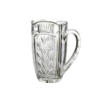 Vintage Cut Etched Floral Design Clear Crystal Glass Pitcher Preview