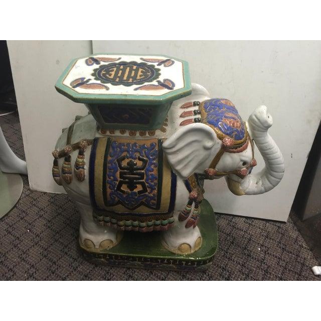 Blue Vintage Elephant Garden Stool For Sale - Image 8 of 10