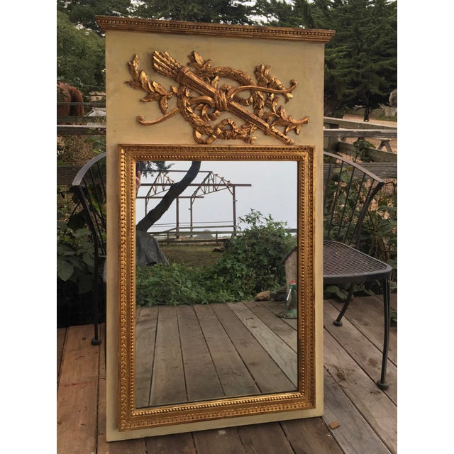 Gold 19th Century Hand Painted & Gold Leaf French Trumeau Pier Mirror For Sale - Image 8 of 9