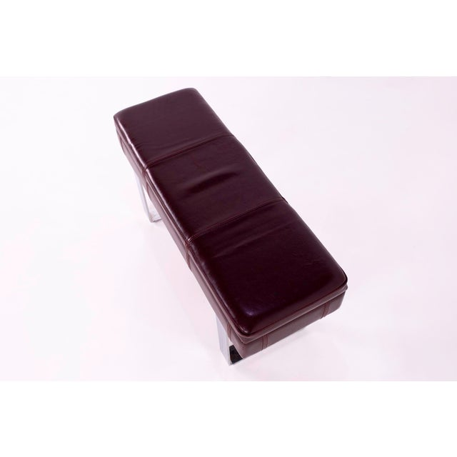 Mid Century Milo Baughman Style Maroon Leather Bench For Sale In Chicago - Image 6 of 8