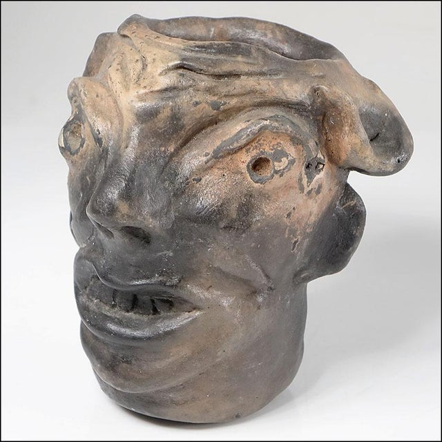 Georgia Blizzard Vintage Folk Art Old Devil Pottery Sculpture Face Jug Cup For Sale - Image 13 of 13