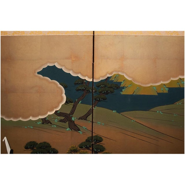 "Metal Shōwa Era ""The Tale of Genji"" Japanese Byobu Screen For Sale - Image 7 of 13"