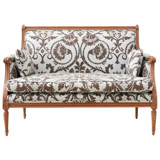 Louis XVI Style Linen Upholstered Settee or Canape For Sale