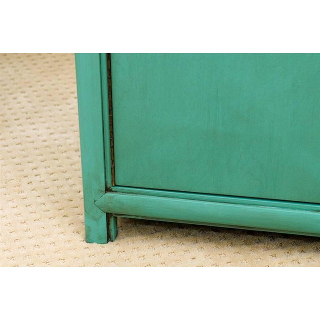 Brass Fabulous Vintage Buffet by Thomasville in Turquoise Lacquer For Sale - Image 7 of 11