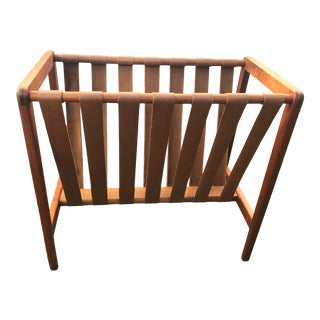 1960s Mid Century Scandinavian Leather Strapped Teak Magazine Holder For Sale
