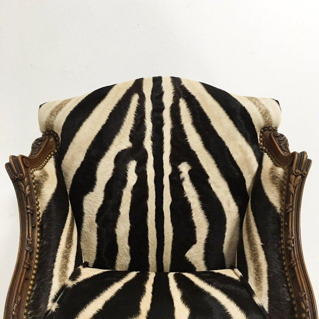 Vintage Carved Chair in Zebra Hide - Image 8 of 11