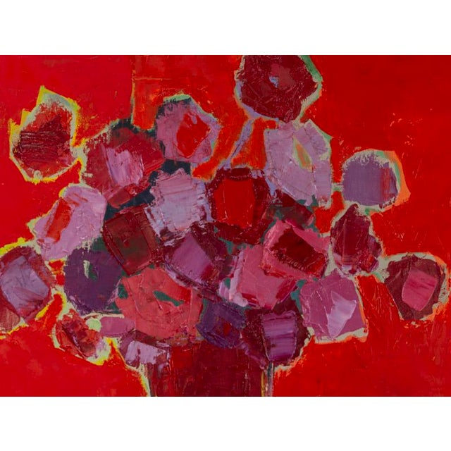 Abstract floral oil on canvas by Bill Tansey