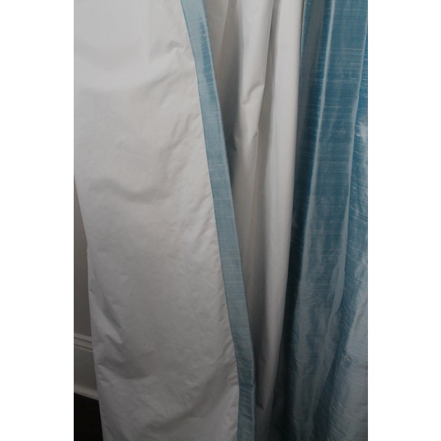 Beacon Hill/Robert Allen Chambray Blue 100% Silk Drapes - 8 Panels For Sale - Image 4 of 8
