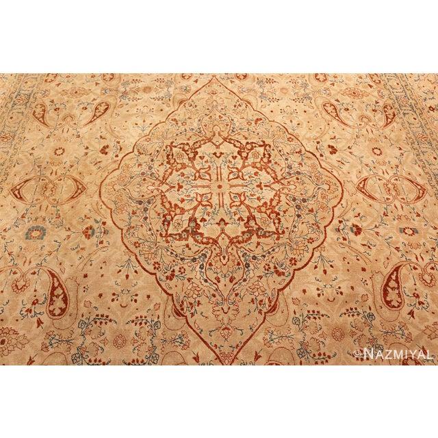 Antique Tabriz Haji Jalili Persian Ivory Background Rug - 9′2″ × 12′9″ For Sale - Image 4 of 10