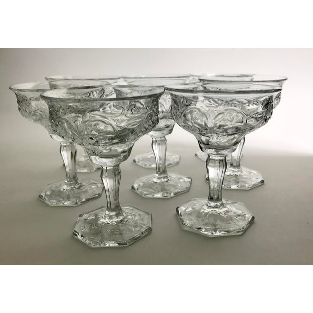 Art Nouveau Rock Crystal Clear Coupe Champagne Glasses by McKee - Set of 8 For Sale In San Francisco - Image 6 of 7