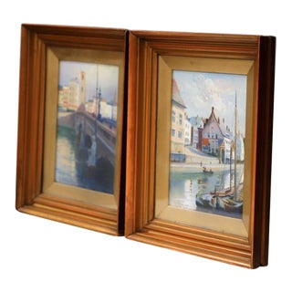20th Century English Signed, Dated, and Framed Watercolors Scenes - a Pair For Sale