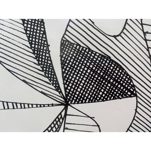 Pen and Ink Mid-Century Modern 1969 Series III Pen-Ink Abstract Painting by Listed Artist Rene Marcel Gruslin For Sale - Image 7 of 12