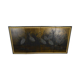 Asian Vintage Folding Screen With Cranes in High Grass For Sale