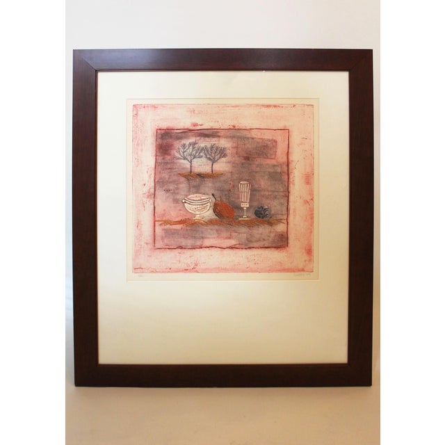 This still life etching was purchased in Cambridge, Mass., in a gallery that represented the artist Louttie. Done in...