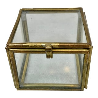 Vintage Brass and Glass Small Box For Sale