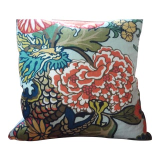 "Contemporary Chiang Mai Dragon Aquamarine Pillow Cover - 18"" For Sale"