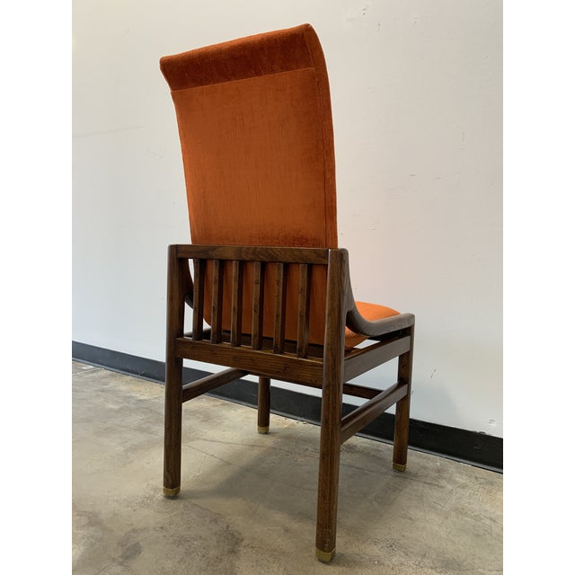 Metal 1970s Vintage Henredon Walnut Dining Chairs- Set of 8 For Sale - Image 7 of 13