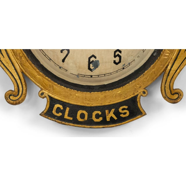 French Country American Country Tole Gold Clock Sign For Sale - Image 3 of 7