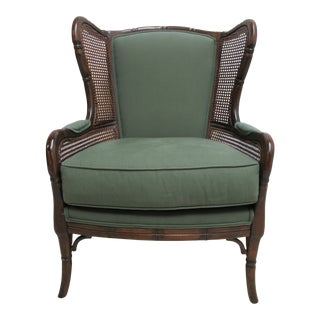 1990s Vintage Ethan Allen Faux Bamboo French Wing Back Living Room Chair For Sale